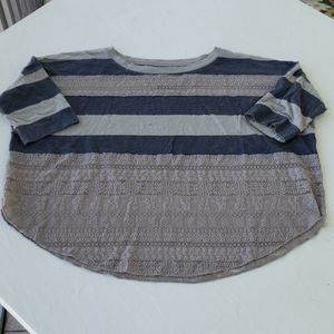 Free People We The Free striped lace tee size Lg